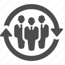 arrows, businessman, businessmen, men, team icon
