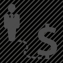 business, businessman, dollar, finance, money, road icon