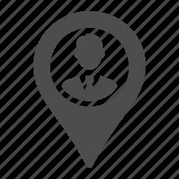 businessman, gps, location, marker, pointer icon