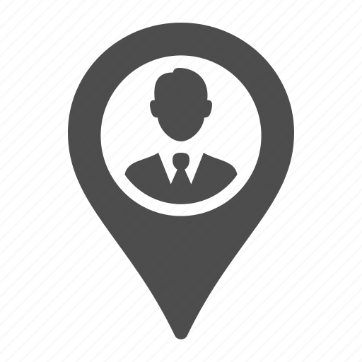 businessman, gps, location, marker, pointer icon