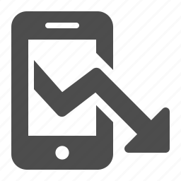 arrow, business, phone, report, smartphone icon