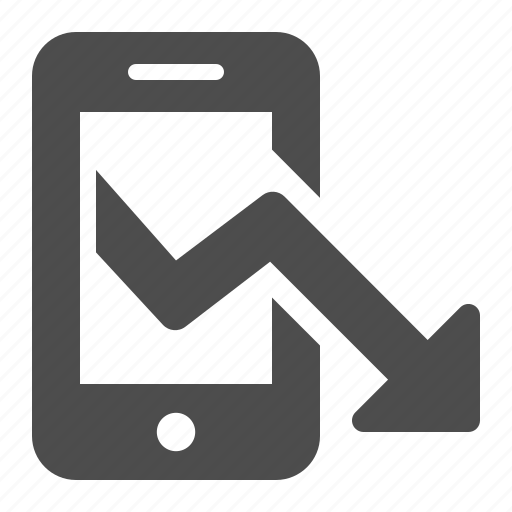 arrow, business, phone, report, smartphone icon