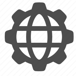 business, cog, gear, globe, network icon