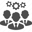 brainstorming, business, businessman, cog, gear, men, team icon