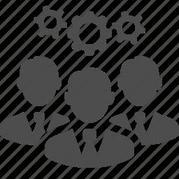 brainstorming, business, businessman, cog, gear, men, team icon