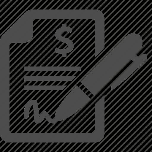 business, contract, finance, pen, signature icon