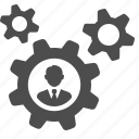 business, businessman, cog, gear icon