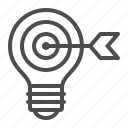 arrow, bullseye, creativity, idea, light bulb, target icon