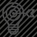 arrow, bullseye, creativity, idea, light bulb, target