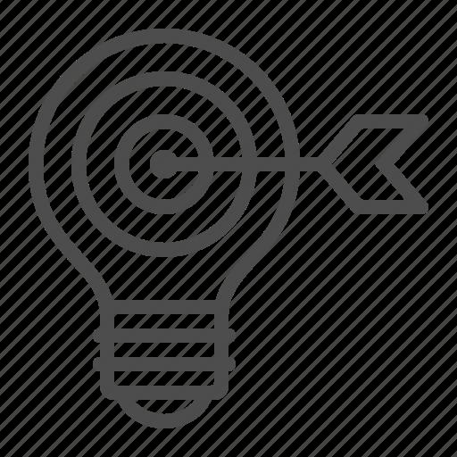 arrow, bullseye, creativity, idea, light bulb, target icon