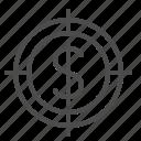 aim, crosshairs, dollar, target