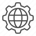 business, cog, gear, global, globe, sprocket icon