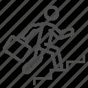 businessman, career, climbing, job, man, stairs, suitcase