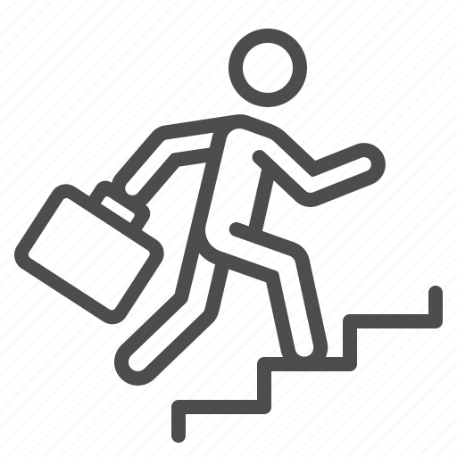 businessman, career, climbing, job, man, stairs, suitcase icon
