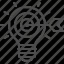 arrow, bullseye, creativity, idea, inspiration, light bulb, target