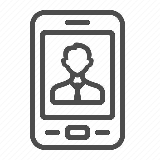 contact, man, mobile phone, profile, smartphone, social media, video call icon