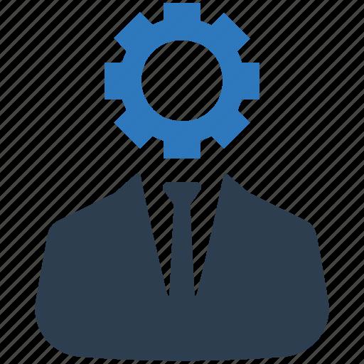 brainstorming, businessman, gear, strategy icon