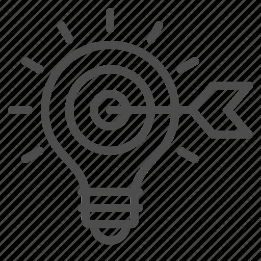 arrow, creativity, idea, inspiration, light bulb, marketing, target icon
