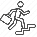 briefcase, businessman, career, climbing, job, man, stairs icon