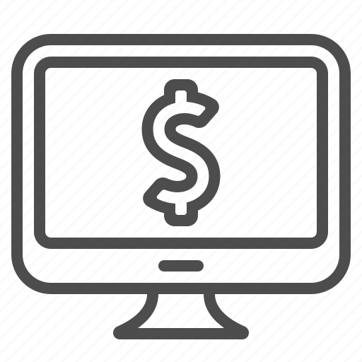 computer, dollar, monitor, online banking, online shopping, price, screen icon