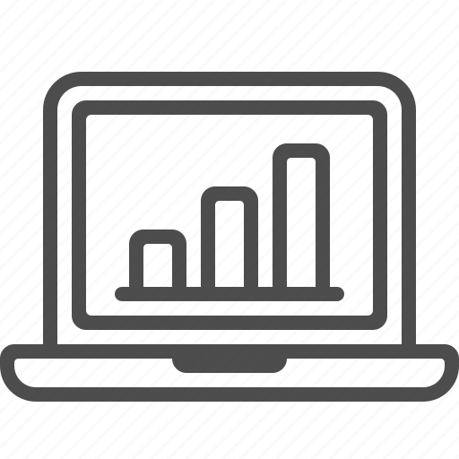 chart, computer, graph, laptop, presentation, report icon
