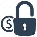 dollar, financial, lock, money protection, money security icon