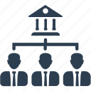 bank, finance, management, office structure, people, team icon