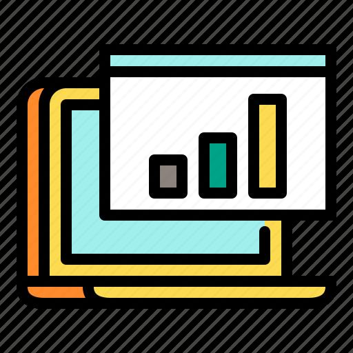 analytics, chart, notebook, shopping, statistics icon