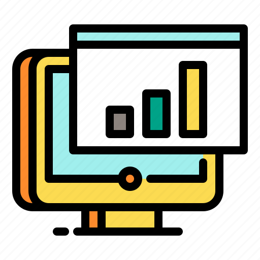 analytics, chart, display, shopping, statistics icon