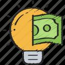 business, finance, ideas, intelligence, light bulb, thinking icon