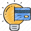 business, credit, ideas, intelligence, light bulb, thinking icon