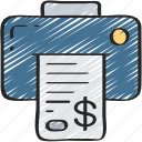 business, client, ink, invoice, payment, print icon