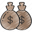 bags, business, dollars, finances, money icon