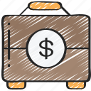 briefcase, business, documents, financial, money, suit case icon