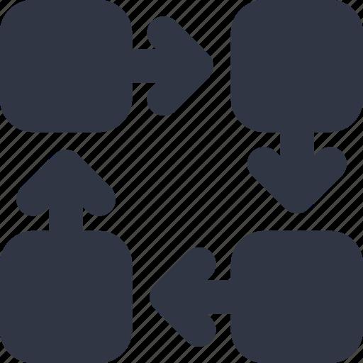 flow, organization, team, workflow icon