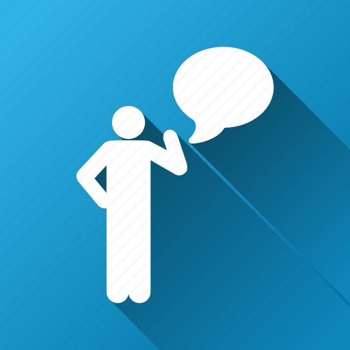 about, bubble, concept, idea, message, person, tip icon