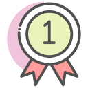 award, badge, medal, position icon