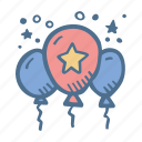 award, balloons, business, clelebration, finance, success icon