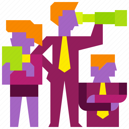 business, goal, group, growth, people, team, vision icon