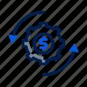 data, dollar, gear, initiator, processing, roland icon