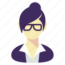 business, glasses, manager, secretary, woman icon
