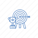 arrow, award, bullseye, goal, success, target, trophy icon