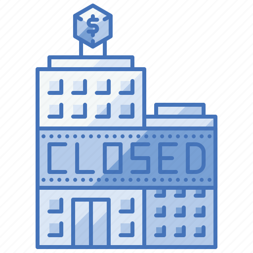business, closed, enterprise, loss, overtake, sell icon