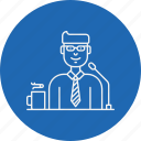 business, conference, interview, job, presentation, speaker, tribune icon
