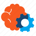 brain, brainstorming, cogwheel, gear icon