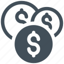 coins, currency, dollar, dollar coins icon icon
