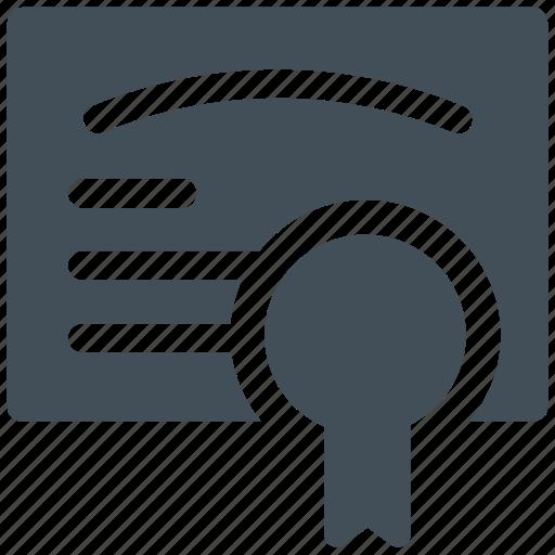 certificate, diploma, guarantee, license icon icon