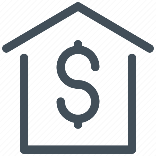 dollar, home, house, money icon icon