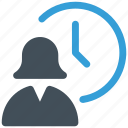 clock, time, user, woman icon icon