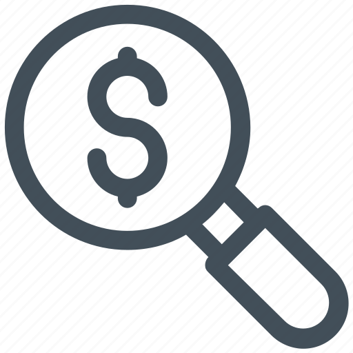dollar, glass, money find, search icon icon